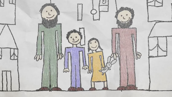 With drawings of hope for the future of Syrian children