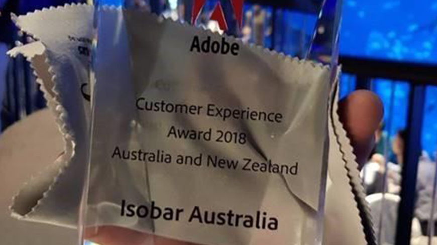 Adobe present Isobar Australia with Customer Experience Award 2018